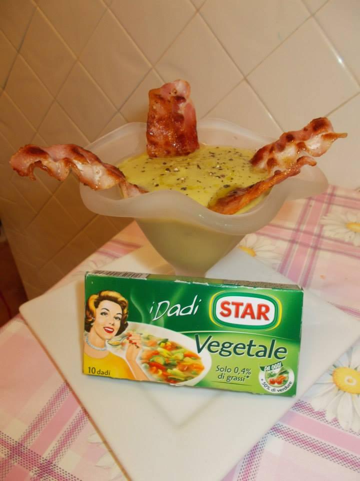 Crema di piselli con bacon croccante